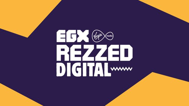 The EGX Rezzed Digital logo on a wavy background