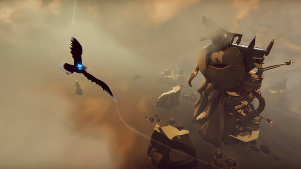 A screenshot of indie game The Falconeer, showing the falcon over a platform set into the back of a giant animalistic statue